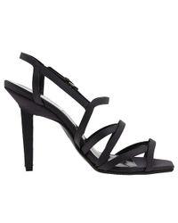 Calvin Klein | Gray Nadia Strappy Satin Sandals | Lyst