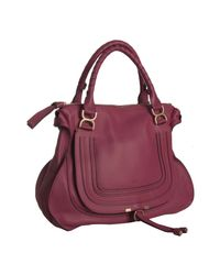 Chloé | Red Cranberry Pebbled Calfskin Marcie Shoulder Bag | Lyst
