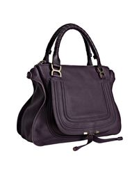 Chloé - Dark Purple Pebbled Calfskin Marcie Shoulder Bag - Lyst