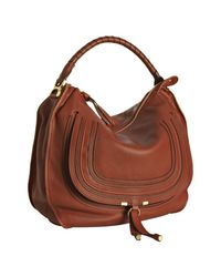 Chloé | Brown Whiskey Pebbled Calfskin Marcie Large Hobo | Lyst