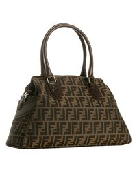 Fendi | Brown Large Canvas and Leather Logo Bag | Lyst