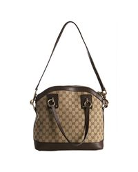 Gucci - Brown Gg Canvas Charm Top Handle Bag - Lyst