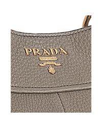 Prada - Brown Clay Pebbled Leather Sacca 2 Manici Shoulder Bag - Lyst