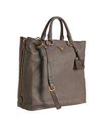 Prada | Brown Mink Deerskin Leather Zip Detail Tote | Lyst