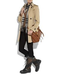 Burberry Brown Lace-up Leather and Canvas Boots
