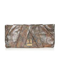 Halston Metallic Alice Oversized Pleated Leather Clutch