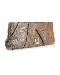 Halston | Metallic Alice Oversized Pleated Leather Clutch | Lyst