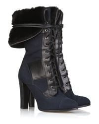 Reed Krakoff Blue Canvas Fold-over Military Boot