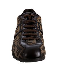 Fendi - Brown Tobacco Zucca Canvas Lace-up Sneakers - Lyst