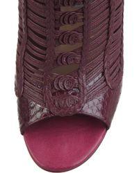 Jimmy Choo Purple Java Braided Leather Peep-toe Boots