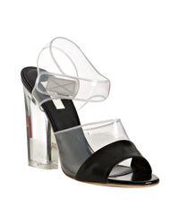 Prada - Black Leather and Pvc Detail Sandals - Lyst