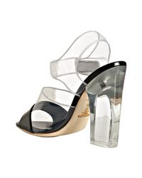 Prada - Black Leather and Pvc Detail Sandals - Lyst