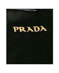 Prada - Black Pleated Satin Zip Wristlet - Lyst