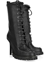 Tory Burch | Black Lace-up Leather Calf-length Boots | Lyst