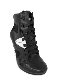 Y-3 - Black Leather and Net Sneaker Wedges - Lyst