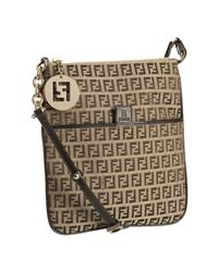 Fendi | Brown Beige Zucchino Canvas Small Messenger Bag | Lyst