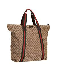 Gucci | Natural Beige Gg Canvas Web Stripe Large Travel Tote | Lyst
