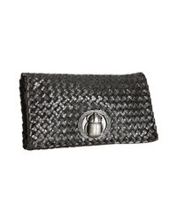 Bottega Veneta | Black Coal Basketwoven Paper and Snakeskin Scarab Beetle Clutch | Lyst