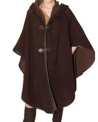 Ferragamo | Brown Net Knit Cape Coat | Lyst