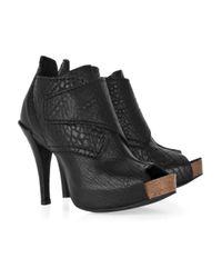 Pedro Garcia Black Chenoa Leather Peep-toe Ankle Boots