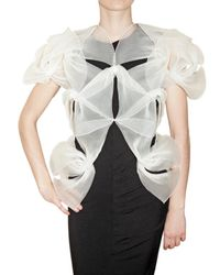 Sandra Backlund - White Pleated Organza Sculpture Top - Lyst