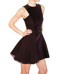 Versus | Purple Velvet and Pleated Georgette Dress | Lyst