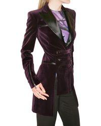 Versus - Purple Velvet Blazer with Strap Details - Lyst