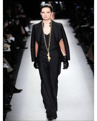 Saint Laurent   Black Satin-trimmed Wool Slim-leg Pants   Lyst