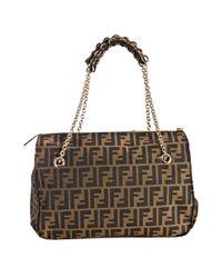 Fendi - Brown Tobacco Zucca Canvas Mia Pleated Chain Shoulder Bag - Lyst