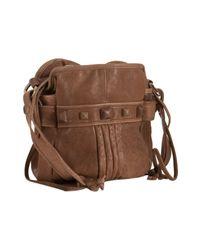 Junior Drake | Brown Tan Leather Studded Faren Bucket Bag | Lyst