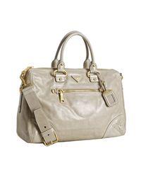 Prada | Gray Pumice Vitello Shine Calfskin Large Handbag | Lyst