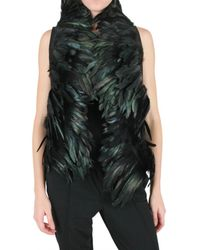Ann Demeulemeester | Black Red Rooster Feather Vest | Lyst