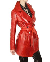 Ann Demeulemeester - Red Leather Trench Coat - Lyst