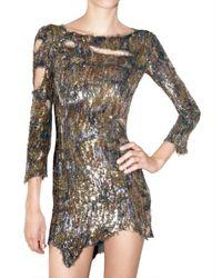 Balmain | Metallic Embroidered Destroyed Dress | Lyst