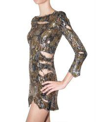 Balmain Metallic Embroidered Destroyed Dress