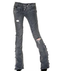 Balmain | Gray Destroyed Flared Biker Jeans | Lyst