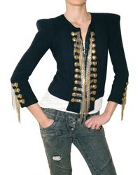 Balmain | Blue Silk Military Style Jacket | Lyst