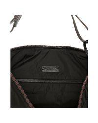 Bottega Veneta - Black and Brown Nylon Leather Detail Hobo - Lyst