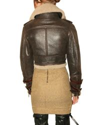 Burberry Prorsum - Brown Shearling Aviator Leather Jacket - Lyst