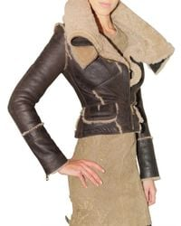 Burberry Prorsum - Brown Shearling Leather Jacket - Lyst