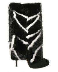 Casadei - Black Fur Trim Boot - Lyst
