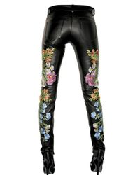 Christopher Kane | Black Embroidered Leather Trousers | Lyst
