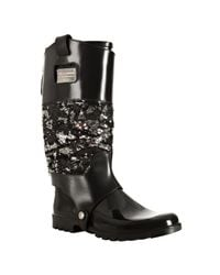 Dolce & Gabbana | Black Rubber and Sequin Leather Cover Rainboots | Lyst