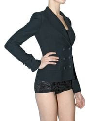 Dolce & Gabbana - Black Stretch Wool Double Breasted Jacket - Lyst