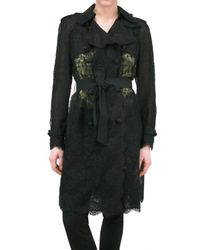Dolce & Gabbana | Black Viscose Lace Trench Coat | Lyst