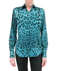 Dolce & Gabbana | Multicolor Leopard Print Stretch Satin Shirt | Lyst