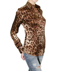 Dolce & Gabbana - Multicolor Leopard Print Stretch Satin Shirt - Lyst