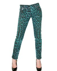 Dolce & Gabbana | Blue Leo Printed Stretch Denim Gisel Jeans | Lyst