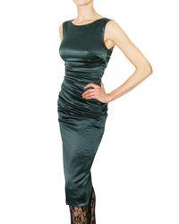 Dolce & Gabbana - Blue Gathered Stretch Silk Satin Dress - Lyst