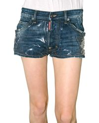 DSquared² | Blue Pvc and Denim Shorts | Lyst